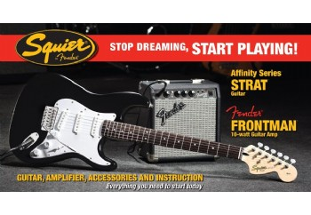 Squier Affinity Strat with Fender Frontman Amp SSS Black