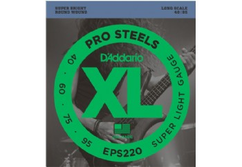 D'Addario EPS220 ProSteels Bass, Super Light, 40-95, Long Scale